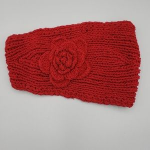 C.C Knit Headband with Flower and Button Detail
